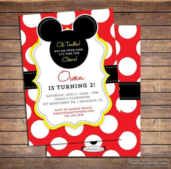 Mickey Mouse Photo Invitations Mickey Mouse Invitation Mickey Mouse Birthday Invitations