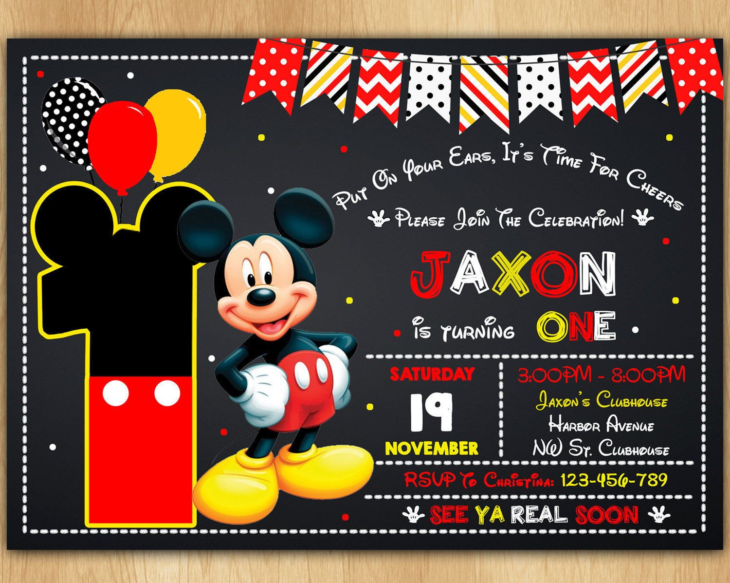 Mickey Mouse Photo Invitations Mickey Mouse Invitation Mickey Mouse Invite Mickey Mouse