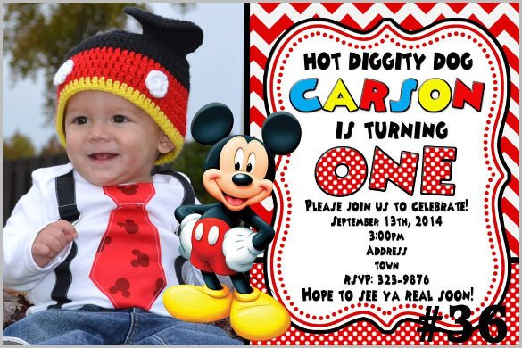 Mickey Mouse Photo Invitations Mickey Mouse Invitation Templates – 26 Free Psd Vector
