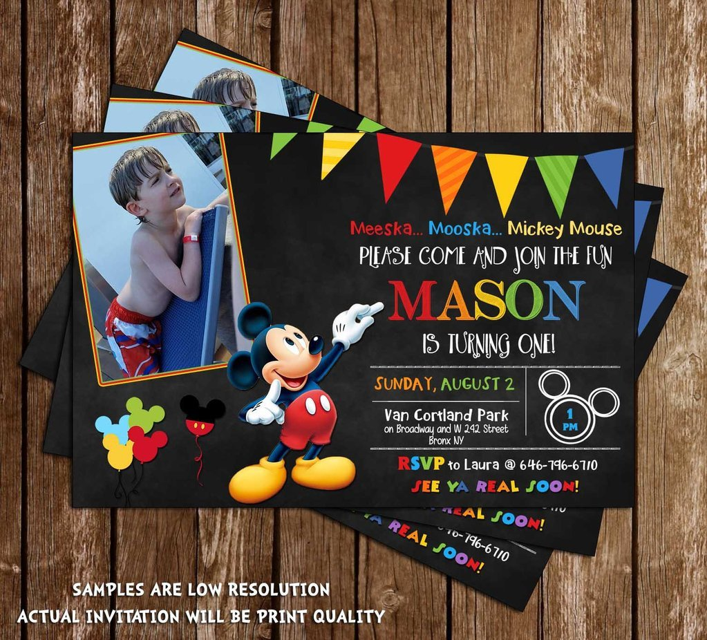 Mickey Mouse Photo Invitations Novel Concept Designs Disney Mickey Mouse Chalkboard