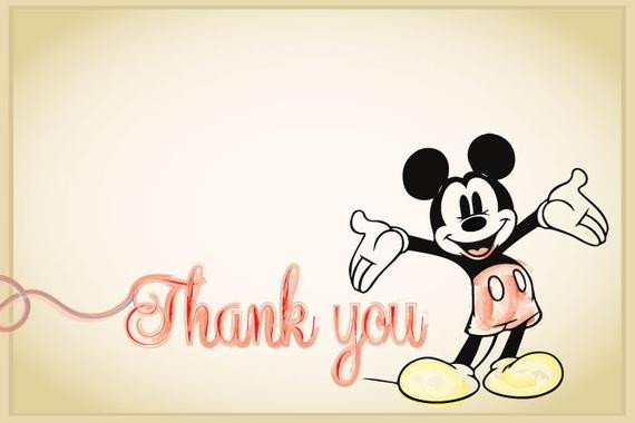 Mickey Mouse Thank You Images Classic Mickey Mouse or Minnie Mouse Birthday Thank You Cards