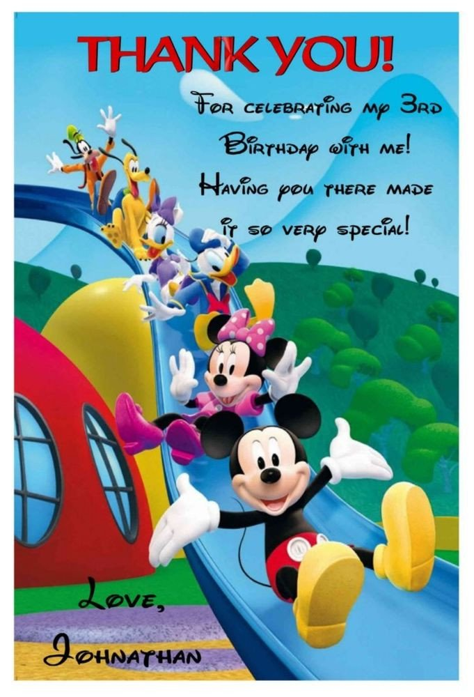 Mickey Mouse Thank You Images Mickey Mouse Clubhouse Birthday Thank You Cards