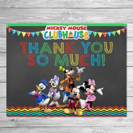 Mickey Mouse Thank You Images Mickey Mouse Clubhouse Thank You Card Instant Download