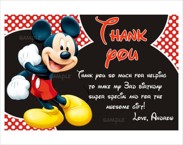 Mickey Mouse Thank You Images Mickey Mouse Invitation Templates – 26 Free Psd Vector