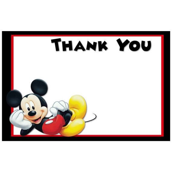 Mickey Mouse Thank You Images Printable Mickey Mouse Thank You Cards Digital Mickey