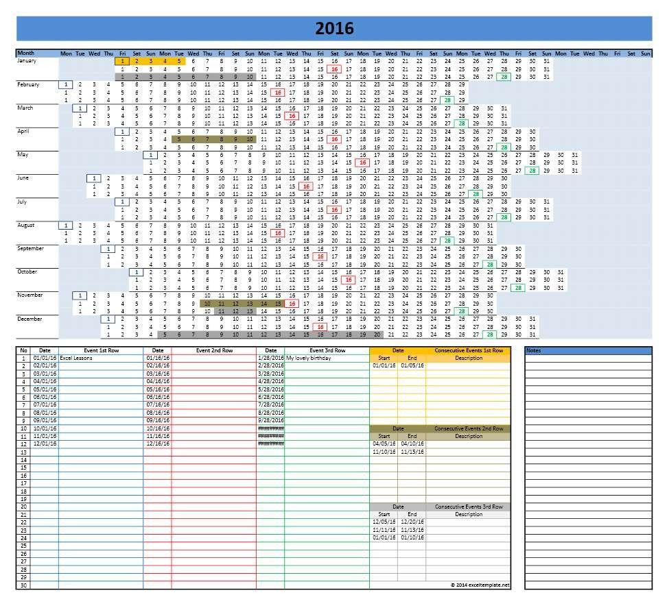 Microsoft Excel Calendar Template 2016 Calendar Templates