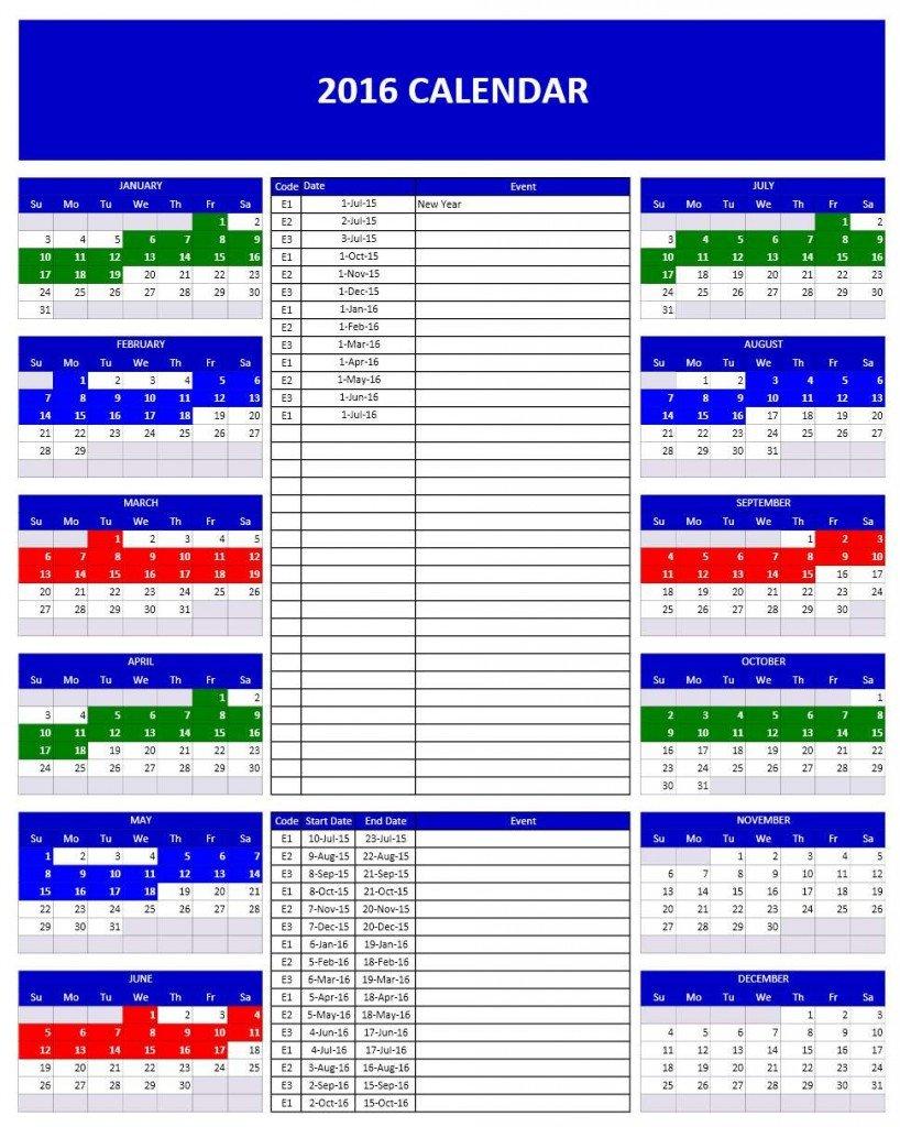 Microsoft Excel Calendar Template 2016 Calendars
