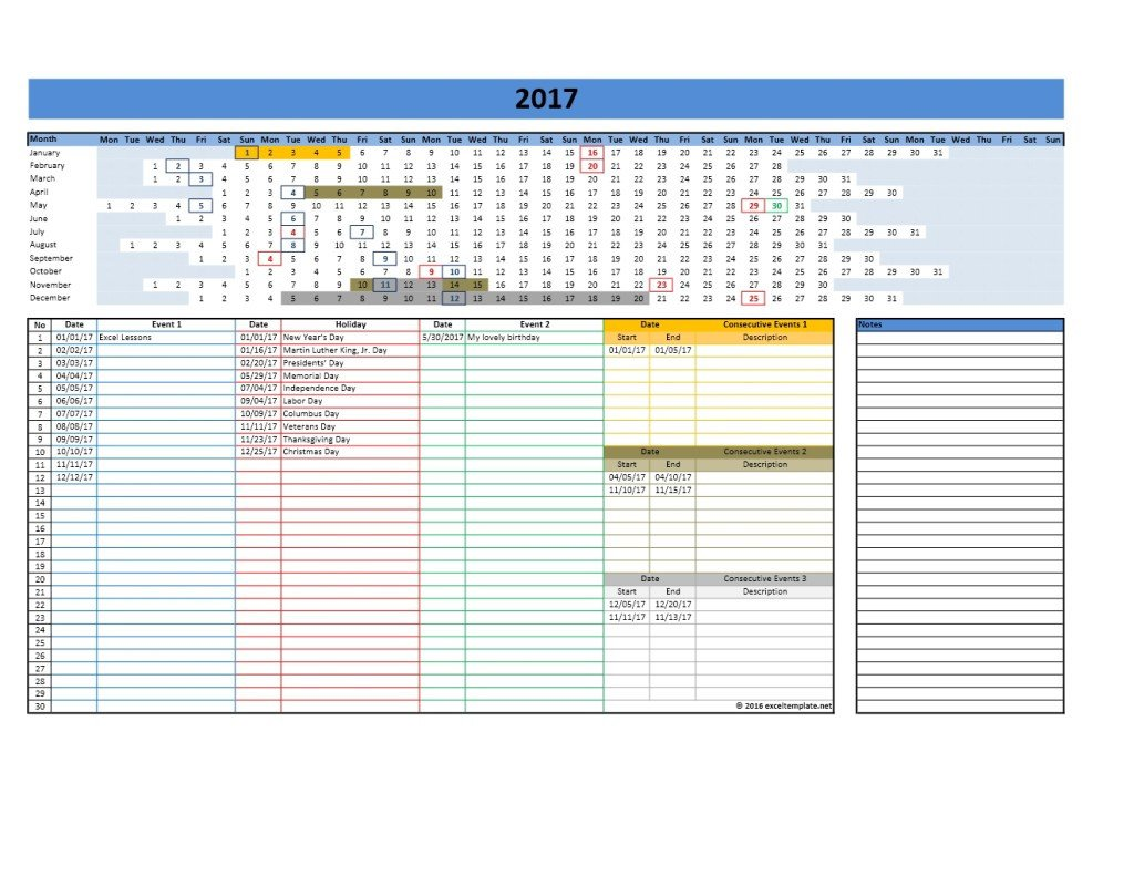 Microsoft Excel Calendar Template 2017 and 2018 Calendars