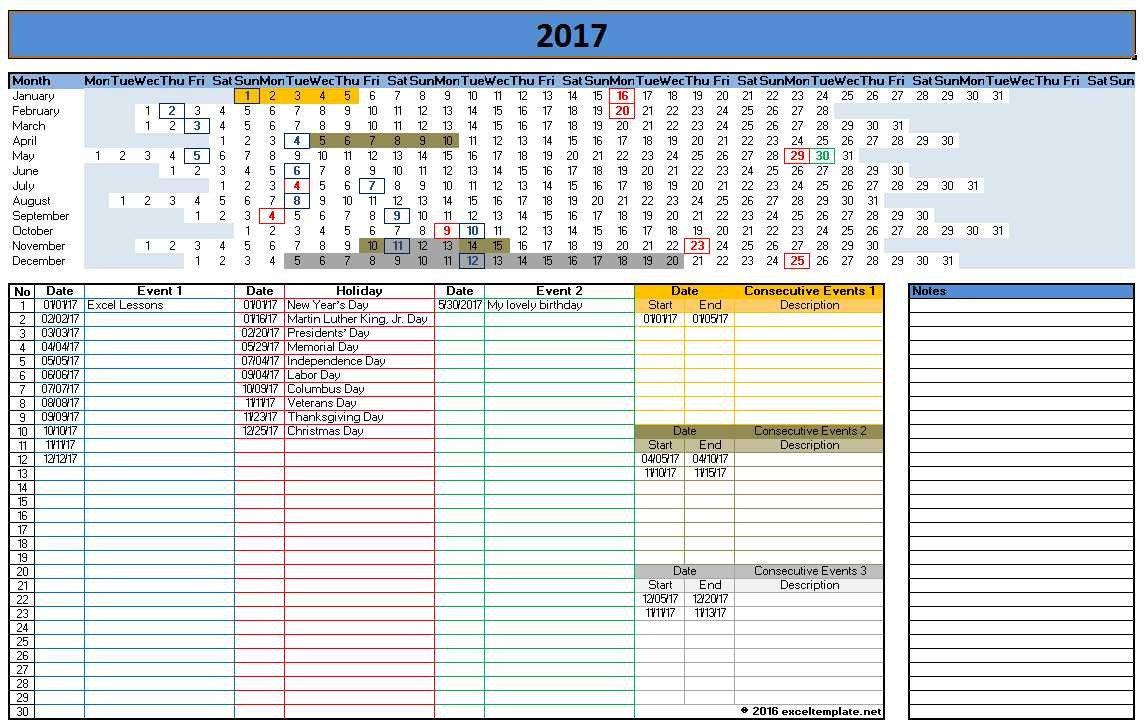 Microsoft Excel Calendar Template 2017 Calendar Templates
