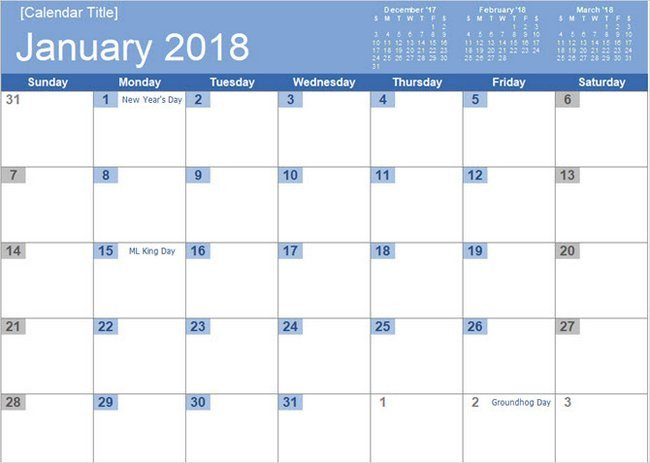 Microsoft Excel Calendar Template Best Free 2018 New Year Calendar for Excel Word Ms