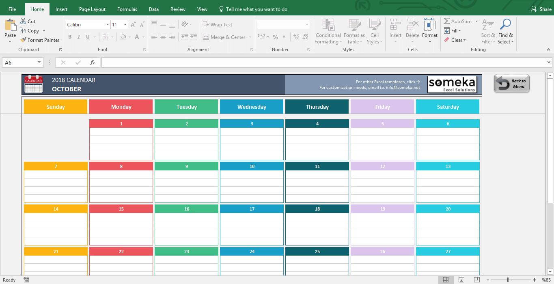 Microsoft Excel Calendar Template Excel Calendar Template 2019 Free Printable Calendar