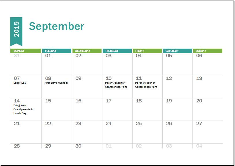Microsoft Excel Calendar Template Excel Calendar Templates