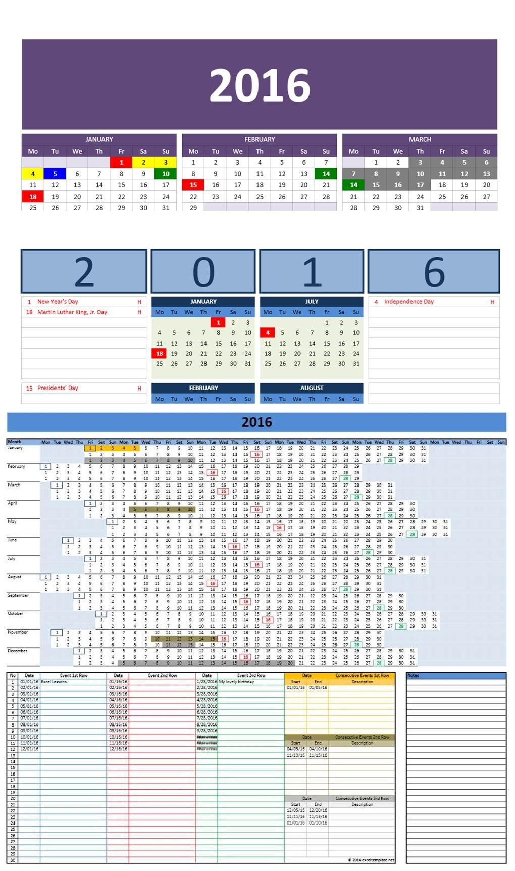 Microsoft Excel Calendar Template Free 2016 Excel Calendars Template