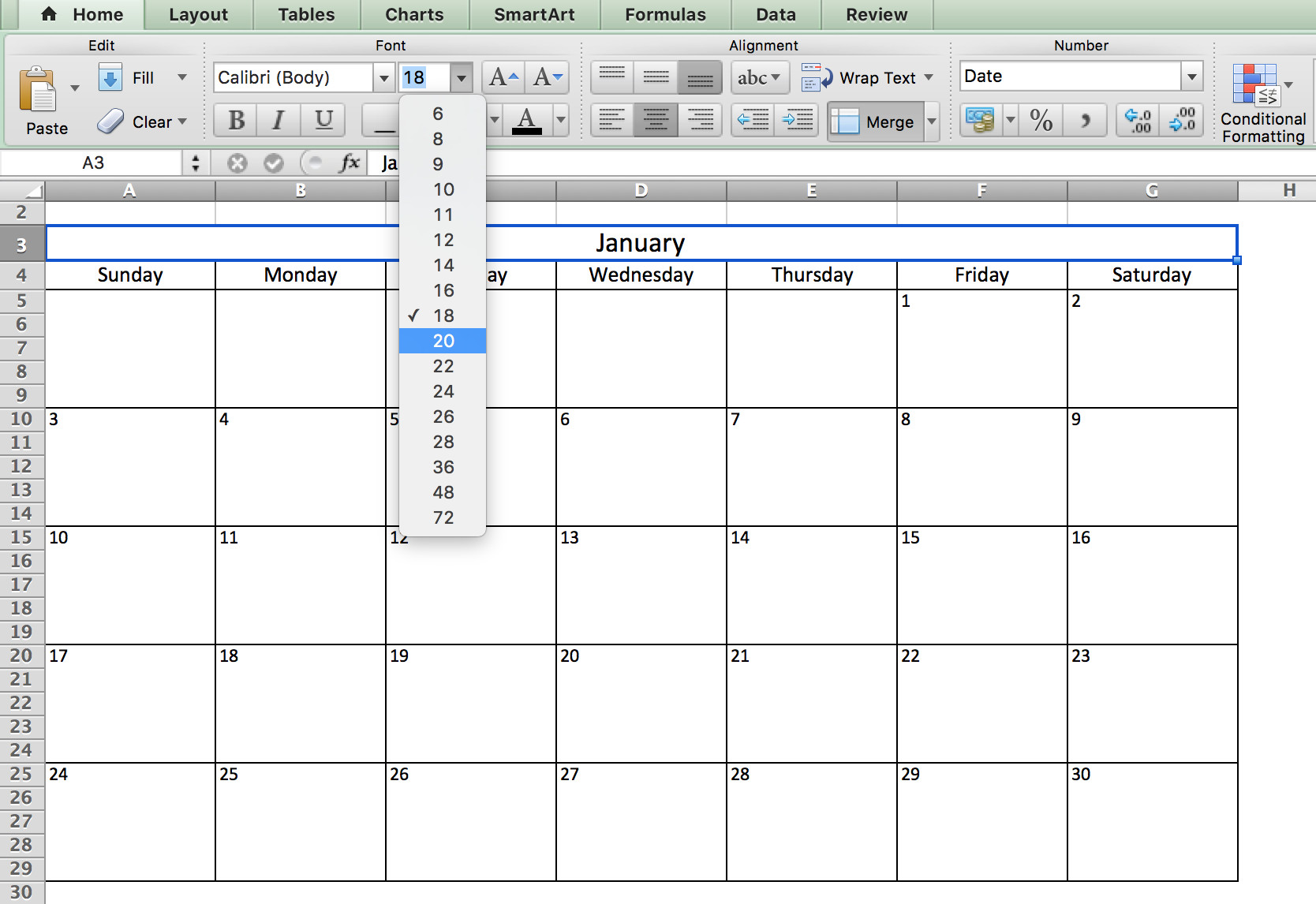 Microsoft Excel Calendar Template Make A 2018 Calendar In Excel Includes Free Template