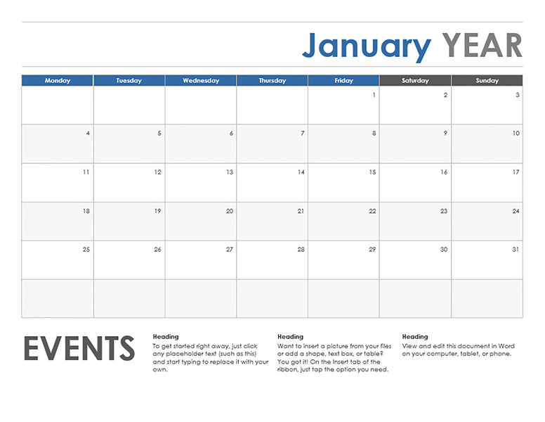 Microsoft Excel Calendar Template Microsoft Word Calendar Template