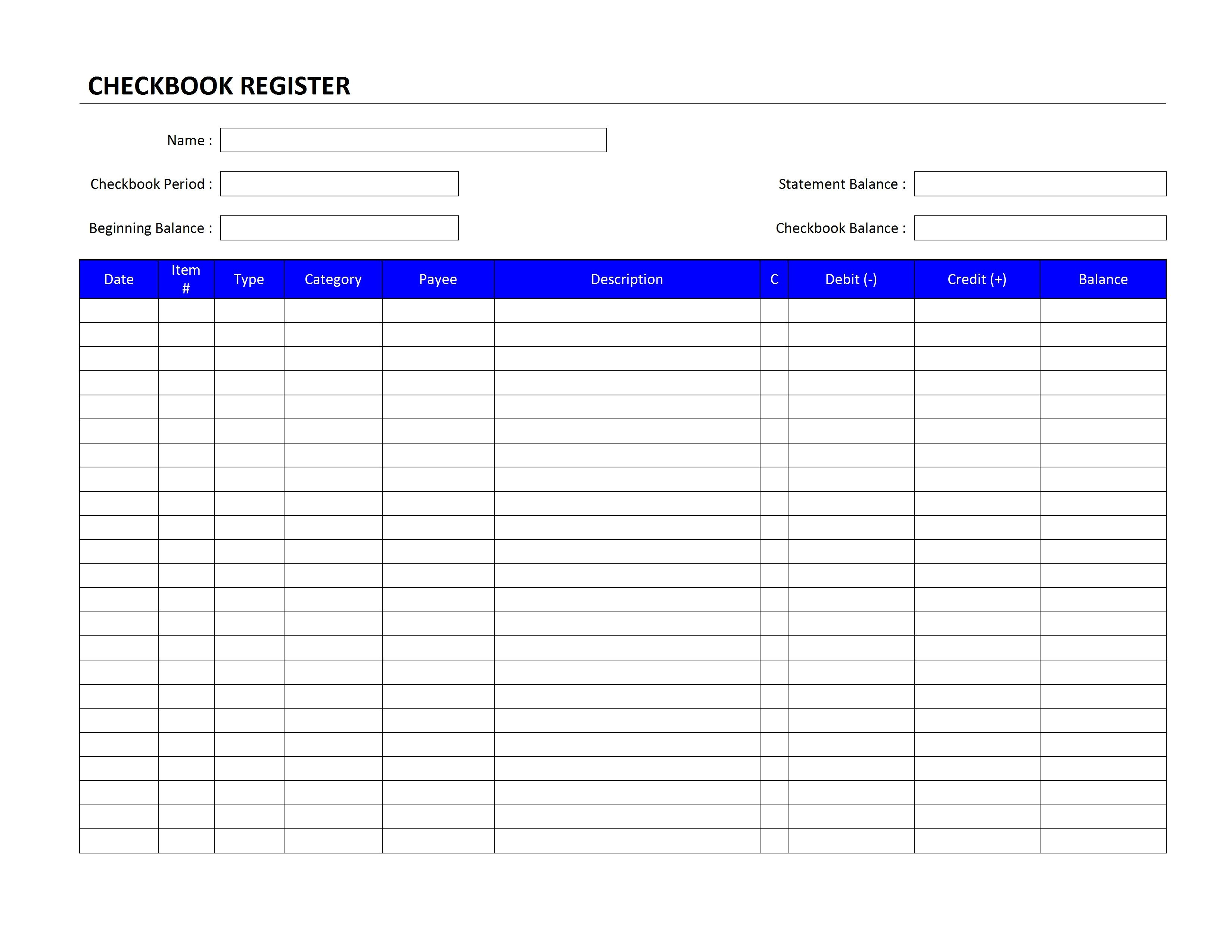 Microsoft Excel Checkbook Template Check Register Template