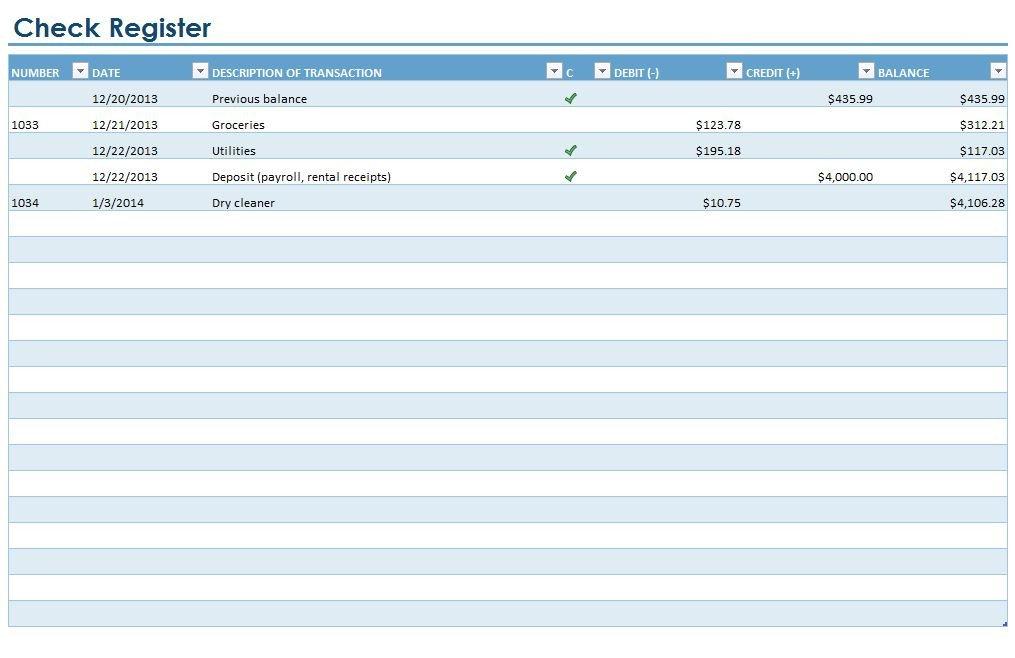 Microsoft Excel Checkbook Template Checkbook Register