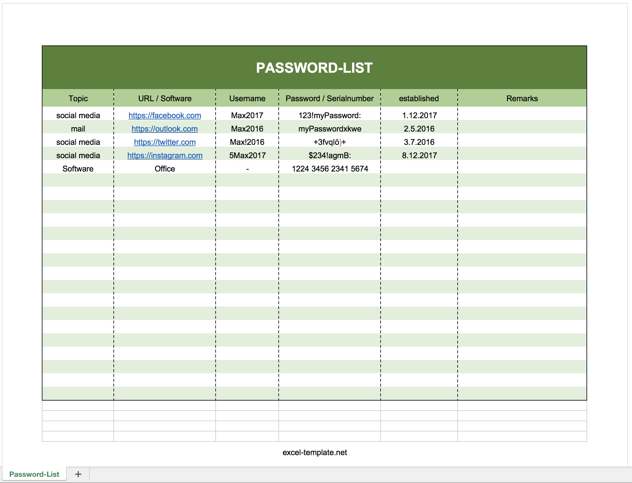 Microsoft Excel Password Template Free Password Log List as Excel Template