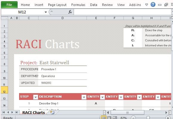 Microsoft Excel Raci Template Free Raci Chart Template for Excel