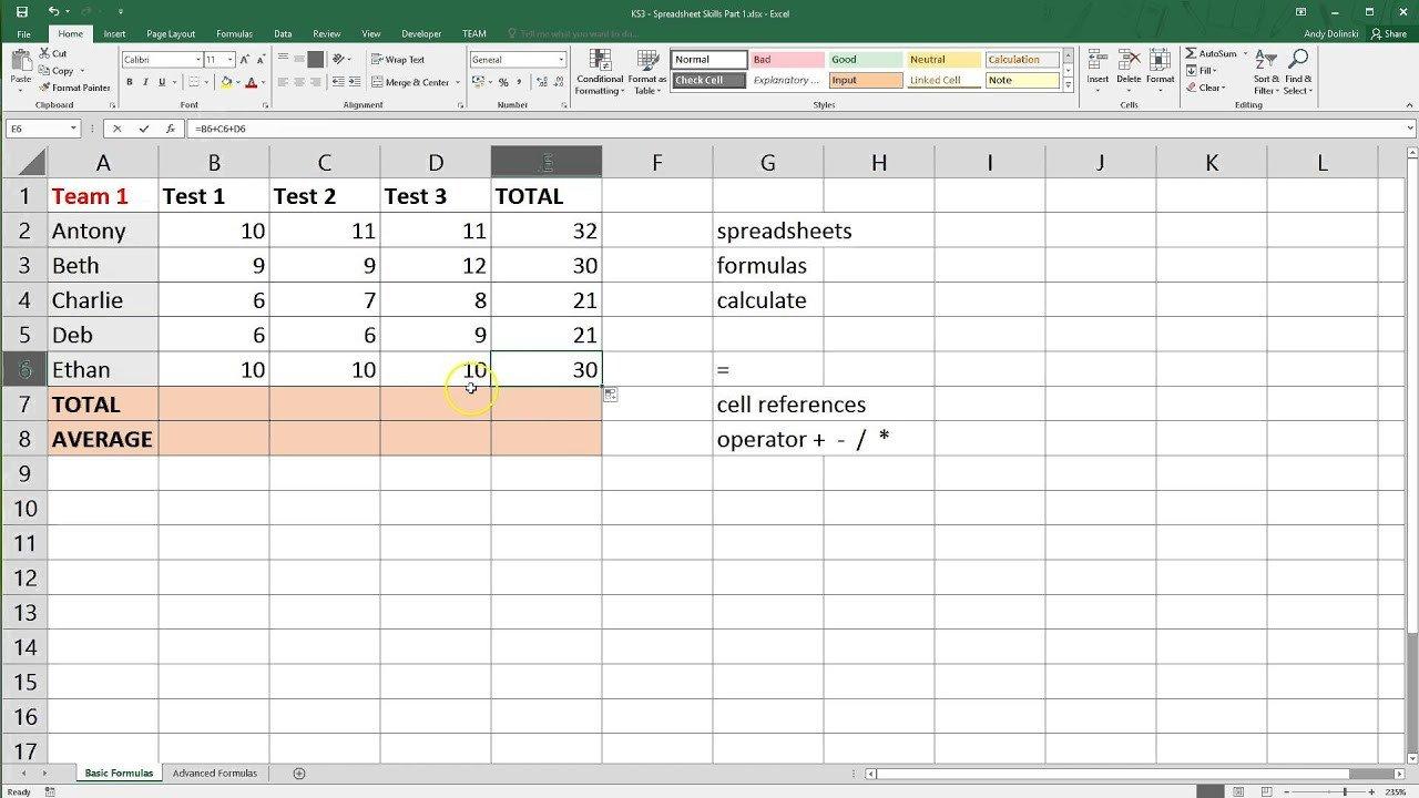 Microsoft Excel Spreadsheet Template Spreadsheet Basics Microsoft Excel