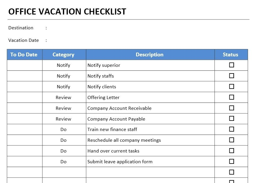 Microsoft Office Check Template Fice Vacation Checklist Template