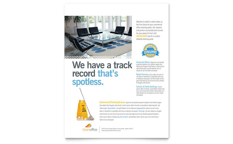 Microsoft Office Flyers Templates Janitorial & Fice Cleaning Flyer Template Word & Publisher