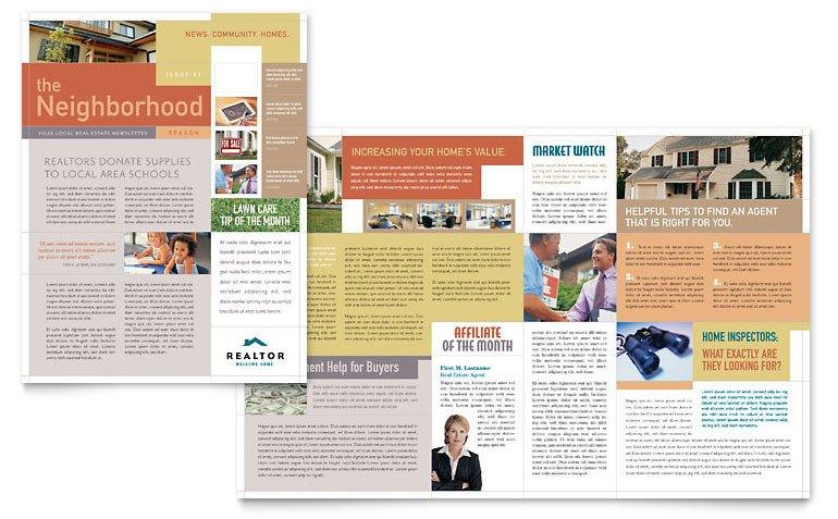 Microsoft Office Newsletter Templates Realtor & Real Estate Agency Newsletter Template Word