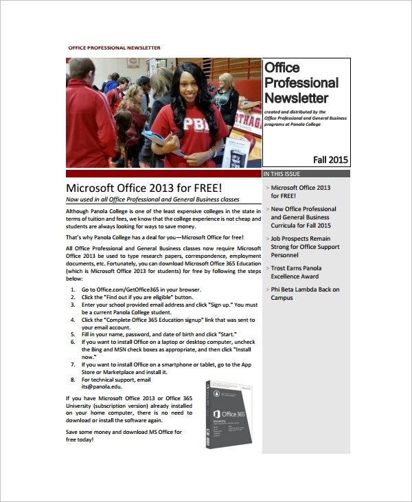 Microsoft Office Newsletter Templates Sample Fice Newsletter 7 Documents In Pdf