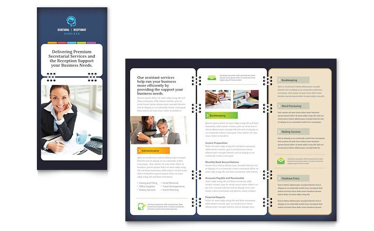 Microsoft Office Publisher Templates Secretarial Services Tri Fold Brochure Template Word