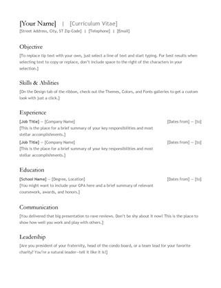 Microsoft Office Templates Resume Cv Resume