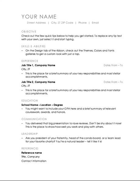 Microsoft Office Templates Resume Resume Minimalist Design