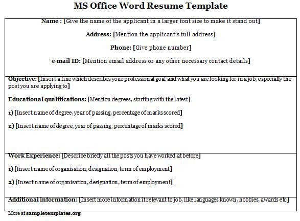 Microsoft Office Templates Resume Word Template for Ms Fice Resume Template Of Ms Fice