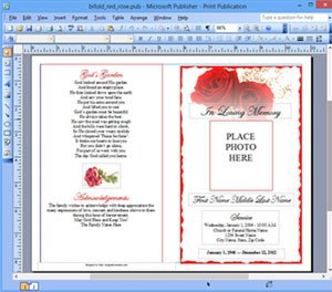 Microsoft Publisher Book Template Funeral Program Template Microsoft Publisher