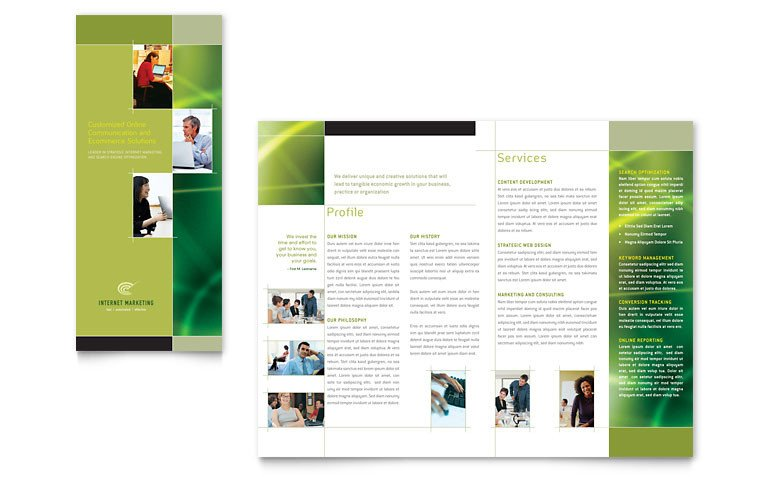 Microsoft Publisher Booklet Templates Internet Marketing Tri Fold Brochure Template Word