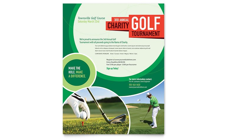 Microsoft Publisher Flyer Templates Golf tournament Flyer Template Word & Publisher