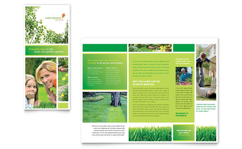 Microsoft Publisher Flyer Templates Lawn Mowing Service Brochure Template Word & Publisher