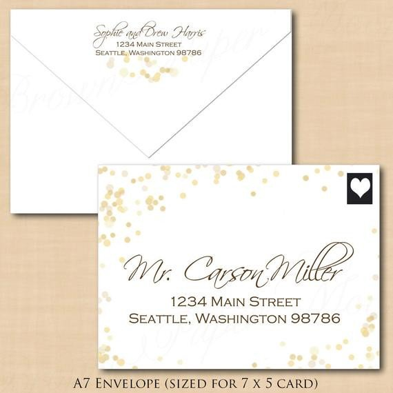 Microsoft Word A7 Envelope Template White Gold Sparkles Address Wedding Envelope by Brownpapermoon