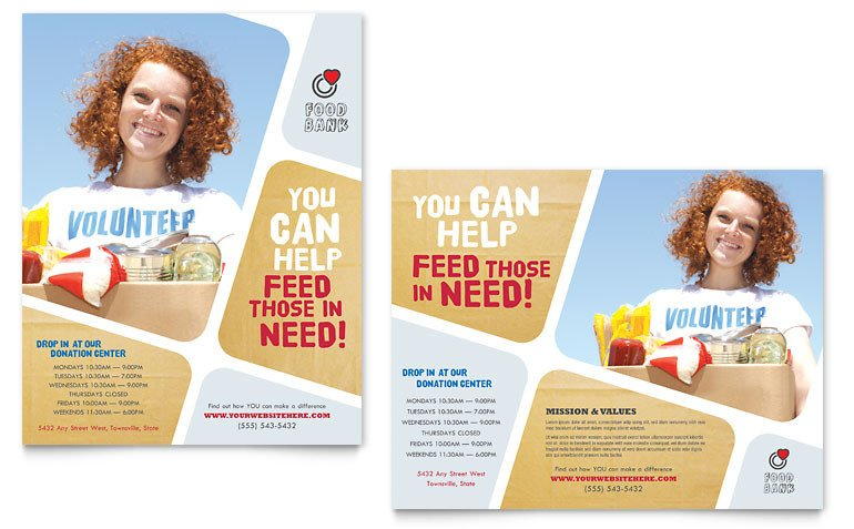 Microsoft Word Banner Template Food Bank Volunteer Poster Template Word & Publisher
