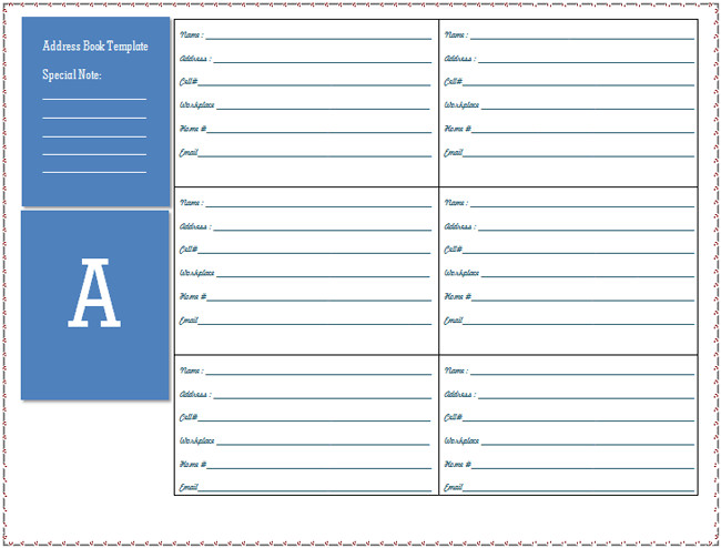 Microsoft Word Book Templates Address Book Template