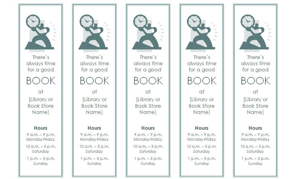 Microsoft Word Bookmark Template Bookmark Template