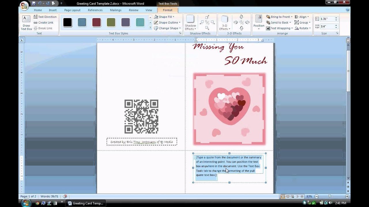 Microsoft Word Card Template Ms Word Tutorial Part 1 Greeting Card Template