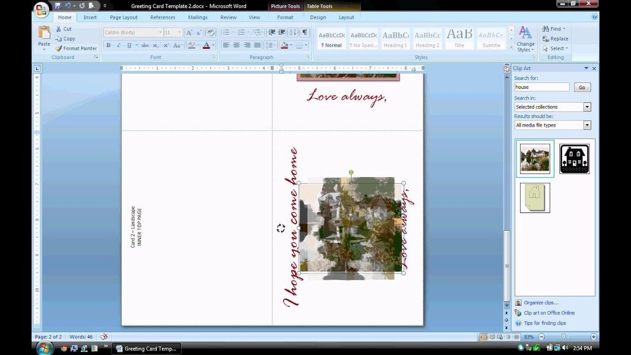 Microsoft Word Card Template Ms Word Tutorial Part 2 Greeting Card Template