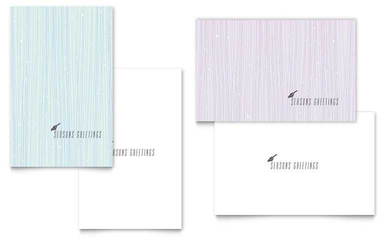 Microsoft Word Card Template Snow Bird Greeting Card Template Word & Publisher