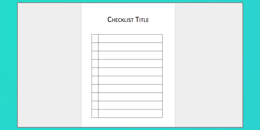 Microsoft Word Checklist Template Checklist Template Word