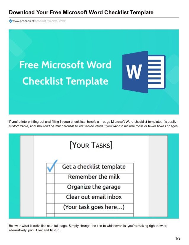 Microsoft Word Checklist Template Download Your Free Microsoft Word Checklist Template