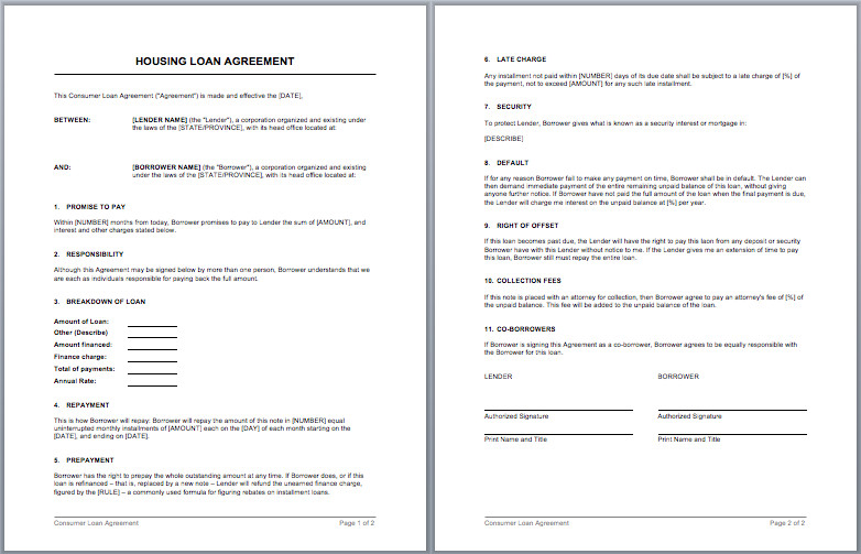 Microsoft Word Contract Template Housing Loan Contract Template – Microsoft Word Templates