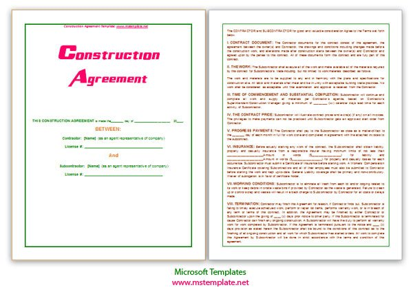 Microsoft Word Contract Template Microsoft Word Templates Construction Agreement Template