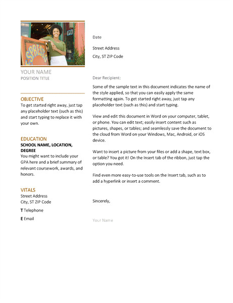 Microsoft Word Cover Letter Template Resumes and Cover Letters Fice