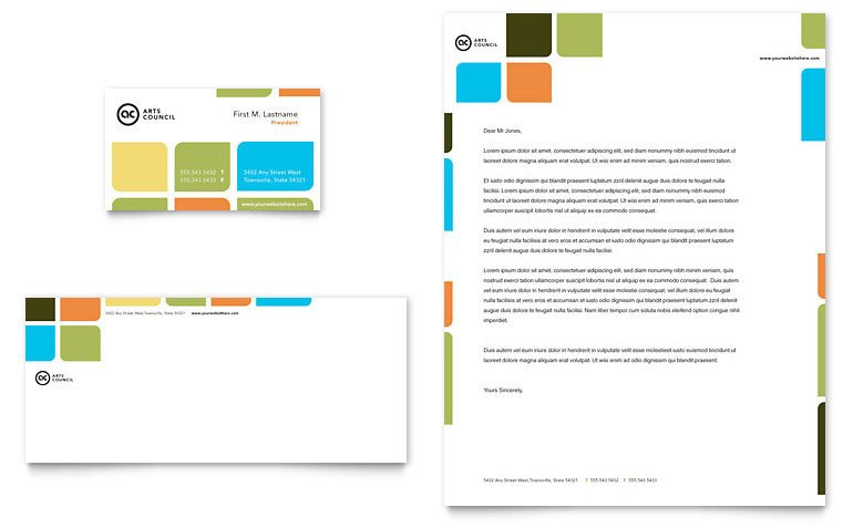 Microsoft Word Design Templates Arts Council & Education Business Card & Letterhead