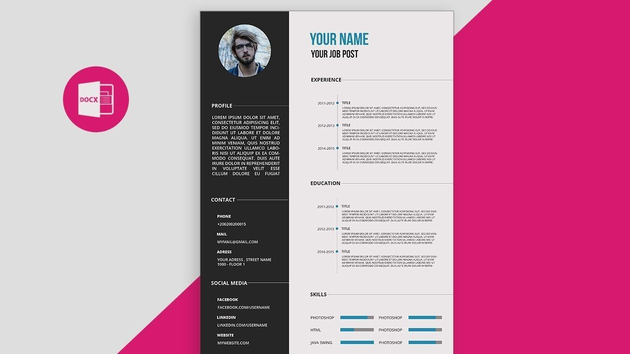 Microsoft Word Design Templates Cv Resume Template Design Tutorial with Microsoft Word